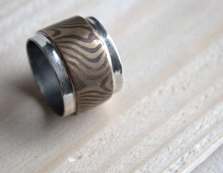 Ring with Mokume gane method, copper & brass with silver. #handmade #mokumegane #ring #uniquepiece #scandinaviandesign