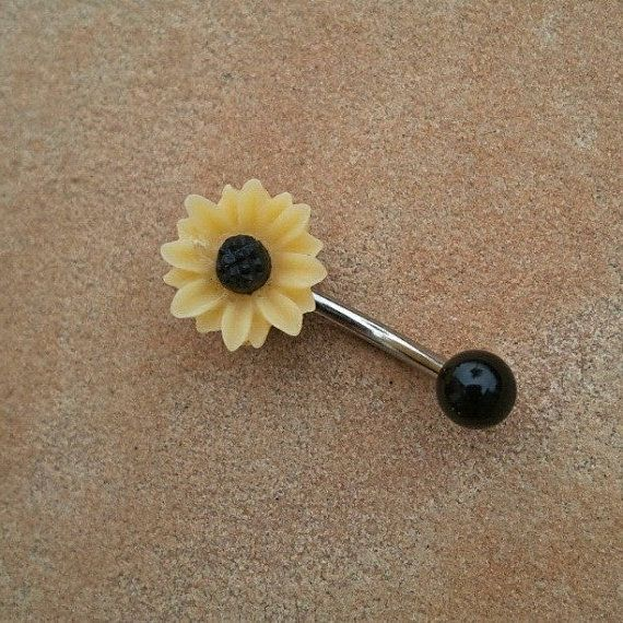Sunflower Belly Button Jewelry Stud Ring Daisy by Azeetadesigns, $15.00