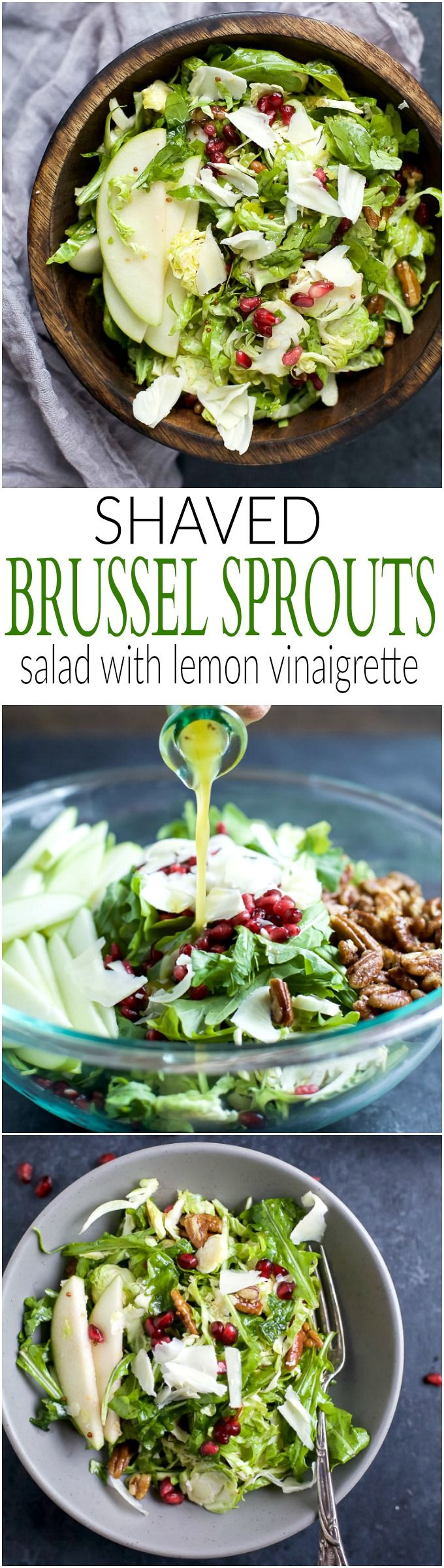 Shaved Brussel Sprout Salad filled with apples, pomegranate, candied pecans, and white cheddar cheese then tossed with a light Lemon Vinaigrette. This Brussel Sprout Salad is the perfect side dish for the holidays!   joyfulhealthyeats.com #glutenfree