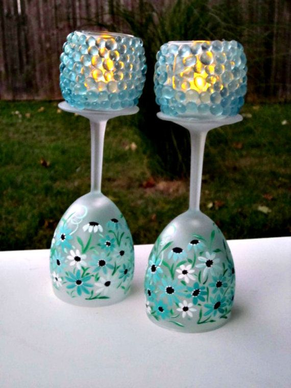 25 best images about wine glass candle holder on pinterest for Wine bottle candle holder craft