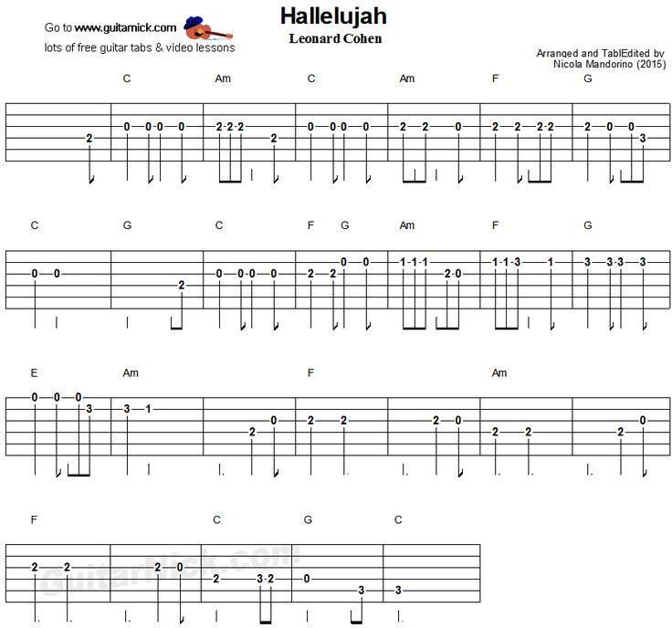 Hallelujah - easy guitar tablature