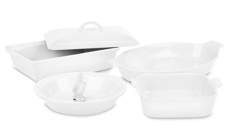 LE CREUSET Stoneware 6-piece Heritage Bakeware Set White $179.95 TOTAL PRICE...LOWEST PRICE GUARANTEE...PICK UP OR WE WILL SHIP FREE WORLDWIDE...100% MONEY BACK SATISFACTION GUARANTEED...WEBSITE: www.shopculinart.com