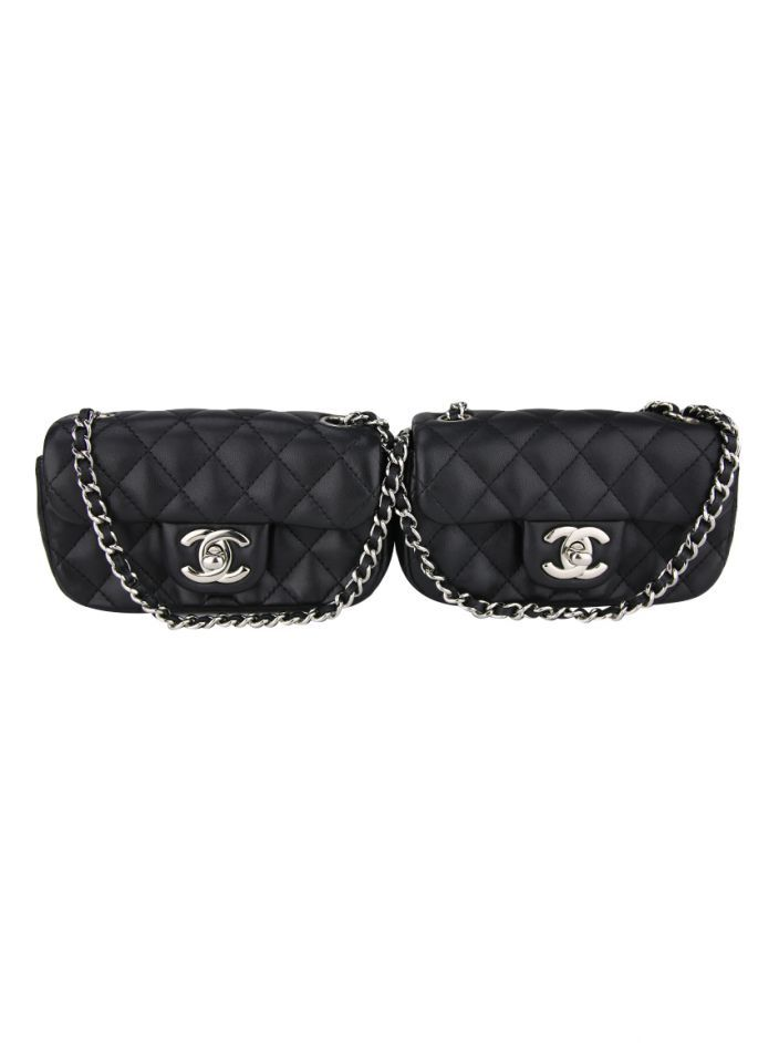 51e784d06 Bolsa Chanel Lambskin Quilted Double Mini Flap Preta   WOMEN'S ...