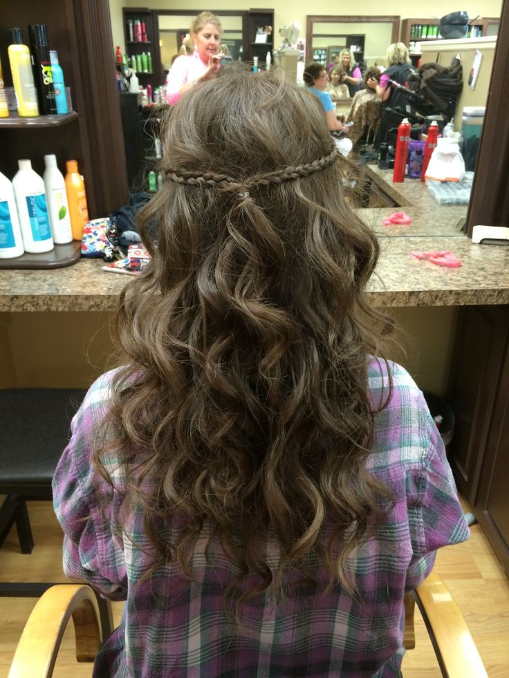 Half up half down curly long brown hair with braid for prom!!