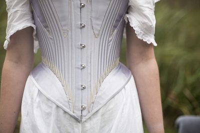 1860s Victroian riding corset designed, cut and made by Edwina James