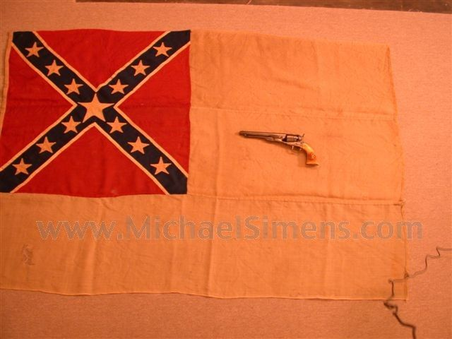 "CONFEDERATE CIVIL WAR FLAG, SECOND NATIONAL This is an authentic, Confederate Second National Civil War Flag. In wonderful condition, it measures 65"" by 42"" and is 100% original."