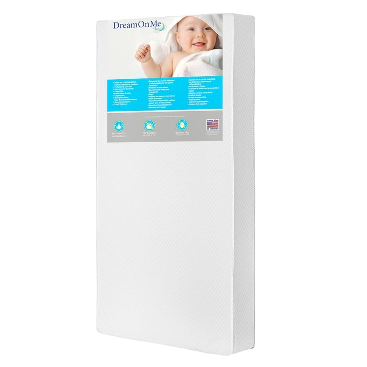 """Dream On Me Lavender Breathable 6"""" Core Crib & Toddler Bed Mattress, White"""