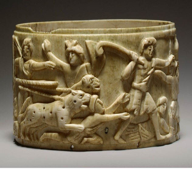 Pyxis with the Triumph of Dionysos in India, mid-500s Byzantine; Possibly made in Syria, said to have been found in Rome Ivory  http://www.metmuseum.org/toah/works-of-art/17.190.56 (October 2006)