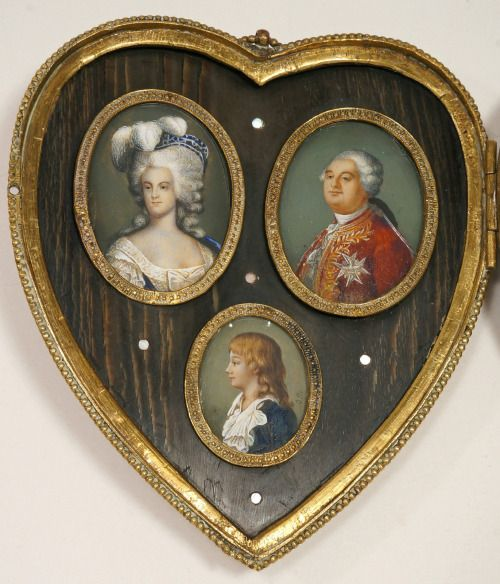 Miniature portraits of Marie Antoinette, Louis XVI and their son Louis Charles. 19th century. [source: ebay]