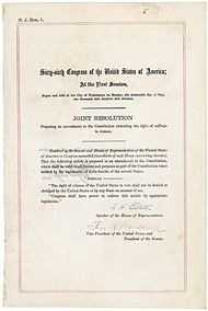 Nineteenth Amendment to the United States Constitution - Wikipedia  1919 - 1920  SERIOUSLY!!!