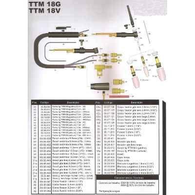 Corpo De Tocha Tig 18fv Refrigerada A Água - Completo. - R$ 88,59 em Mercado Livre