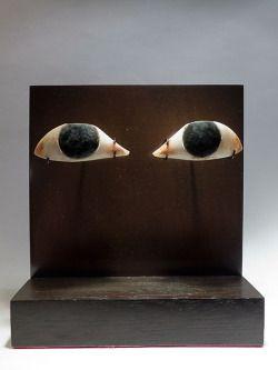 Un paio di inserti oculari.  Alabastro venato di rosso e ossidiana, 2060-1786 aC Medio Regno, l'Egitto Dominique Thirion, Bruxelles, Belgio