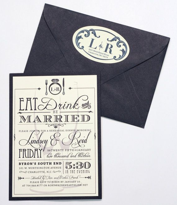 Eat Drink and Be Married Customized Rehearsal by AMGDesignCo, $2.75