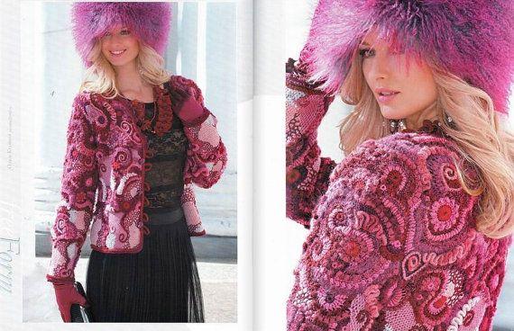 Autumn winter Free form Crochet patterns Fashion Magazine, Zhurnal Mod No 562  jackets, Irish lace dress, top, skirt, cardigan