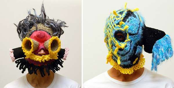 Crocheted masks... not sure what they would be good for, but certainly different.