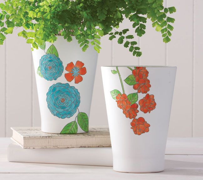 IMAGE: Martha Stewart Crafts Flowers and Leaves Paintable Clings Pots