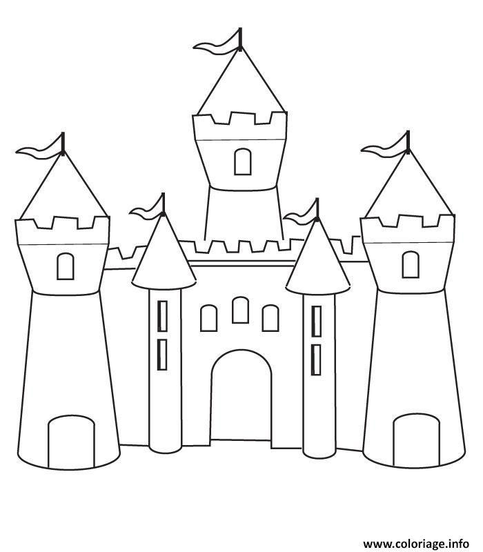 Coloriage Chateau Fort Maternelle Simple Dessin A Imprimer
