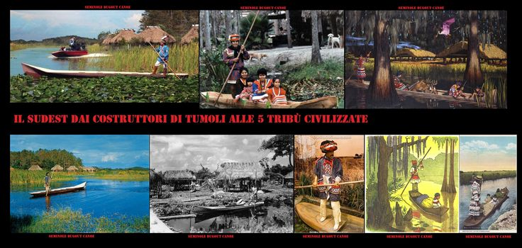 Disegni, dipinti, foto, diorama, modelli, di canoe Seminole.