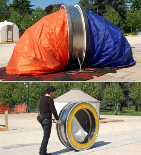 WheelLY Recycled Homeless Shelter Portable and temporary, this unusual-looking design by Italian firm Zo-Loft provides a safe storage space for one's belongings during the day, and expands into a tent at night