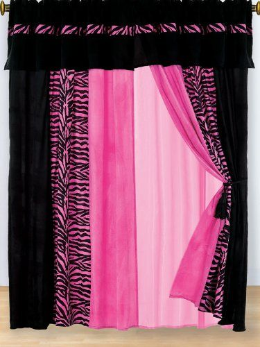 Amazon.com - 8 PC MODERN HOT PINK PINK ZEBRA MICRO FUR CURTAIN SET - Bedding Collections