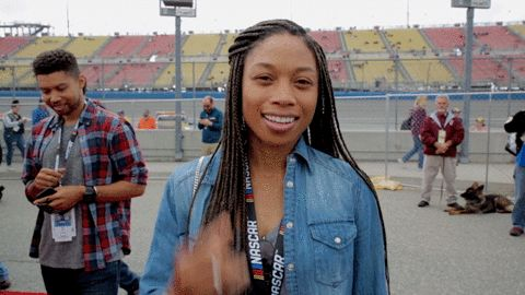New party member! Tags: yes nascar fist pump pumped auto club 400 2017 auto club 400 yes! allyson felix