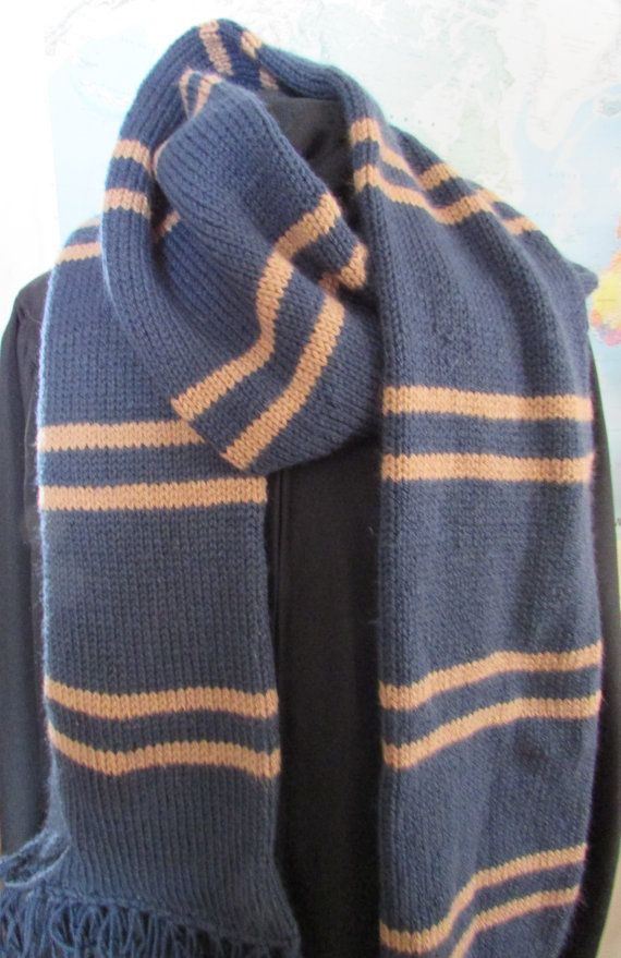 Hand Knit Harry Potter Hogwarts House scarf, Choose from Gryffindor, Huffelpuff…