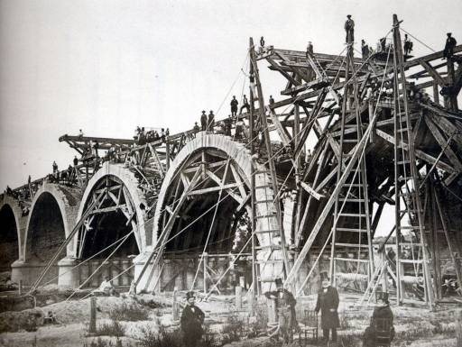 Foto de la construcción del Puente de los Franceses, Madrid 1860