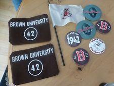 Vintage Brown University arm bands felt & flag football & pins buttons 1942 alum