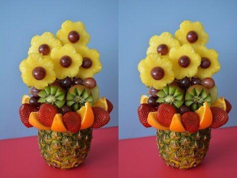 Фруктовый букет. Карвинг. Как красиво нарезать киви, ананас, фрукты - YouTube
