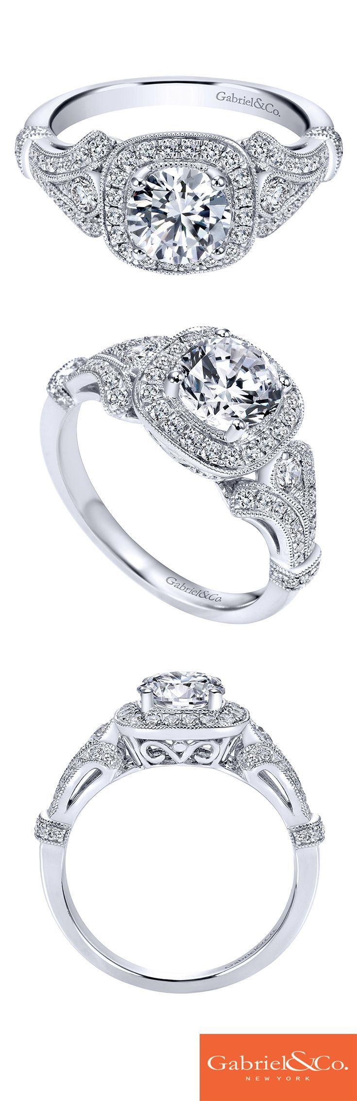 14k White Gold Diamond Halo And Filgree Setting Engagement Ring