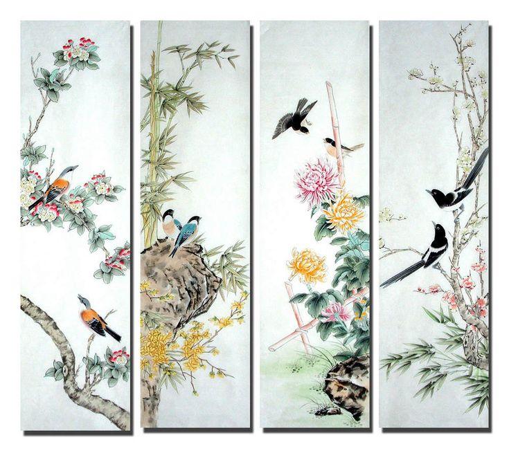 Peinture Chinoise: Pájaros y flores - FourInOne - Pintura china CNAG233552 - Artisoo.com                                                                                                                                                                                 Más