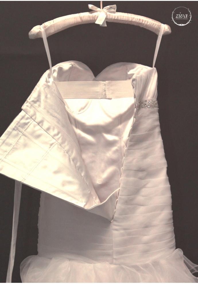 Helena - Stunning ruffled organza mermaid wedding dress with removable single shoulder strap