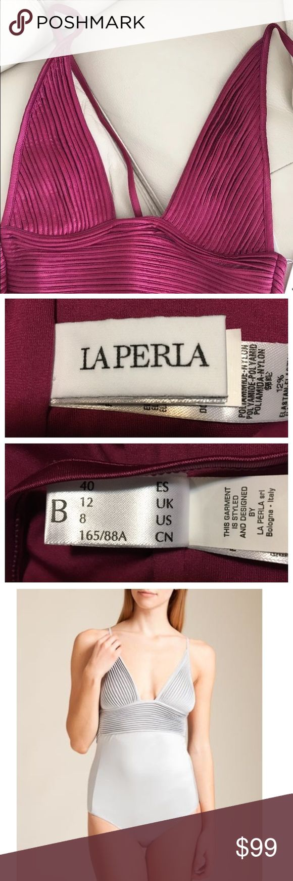 La Perla Swimwear NWOT Beautiful and glamorous one piece tuxedo swimwear collection from La Perla. Wireless triangle cups and a deep v neckLine. Alluring open back. Can be worn halter style or with straight shoulder straps. Luxurious satin fabric looks amazing in the sunlight. Brand new never worn but no tags. Color- purple/wine. Retailed for $924. Size 8 but runs small on the top-fits a small chest La Perla Swim One Pieces