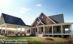 Retreat with Full Wraparound Porch - 92309MX   Cottage, Country, Mountain, Vacation, Exclusive, Photo Gallery, 1st Floor Master Suite, CAD Available, Loft, Media-Game-Home Theater, PDF, Wrap Around Porch, Corner Lot, Sloping Lot   Architectural Designs