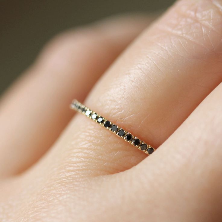 Micro Pave Black Diamond Band in 14K Gold size 4 7 Made To Order $325