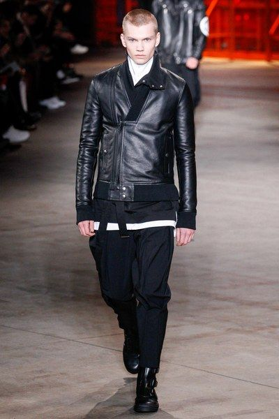 Monkish leather jacket Diesel Black Gold Fall 2017 Menswear collection.