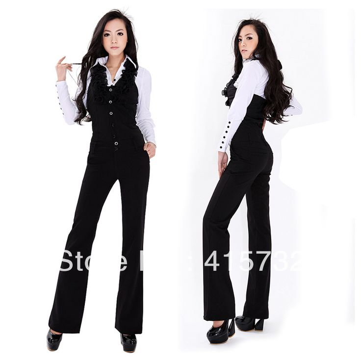 Free Shipping 2013 New Fashion Halter Jumpsuits For Women Bib Pants Ruffles Overalls Office Ladies Black Jumpsuit And Rompers $47.00