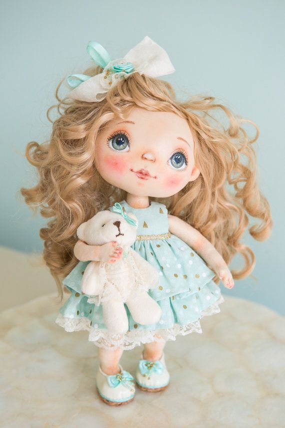 OOAK Art Doll Collectible Cloth doll Textile art от AliceMoonClub