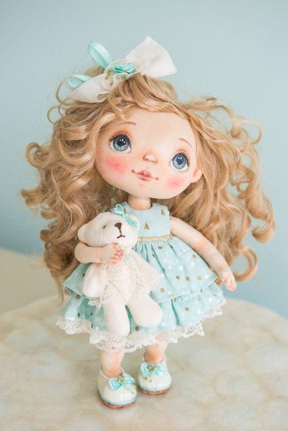 OOAK Art Doll Collectible Cloth doll Textile art от AliceMoonClub