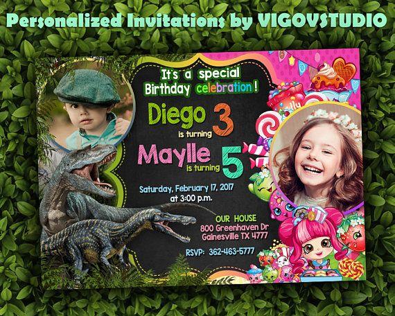 Double Birthday Party Invitation-Dinosaur and Shopkins Dual
