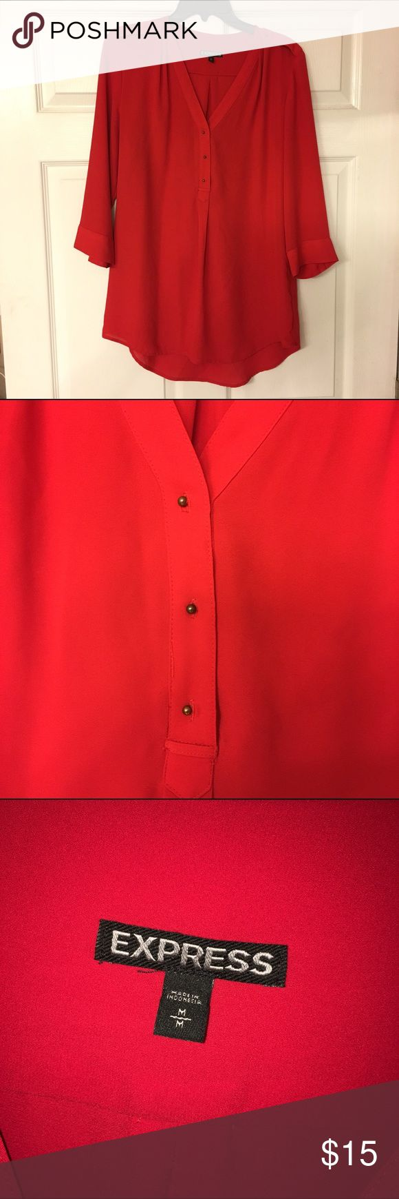Express Red Tunic Blouse EUC. Loose fitting tunic shirt. Perfect for Valentine's Day coming up! Express Tops Blouses