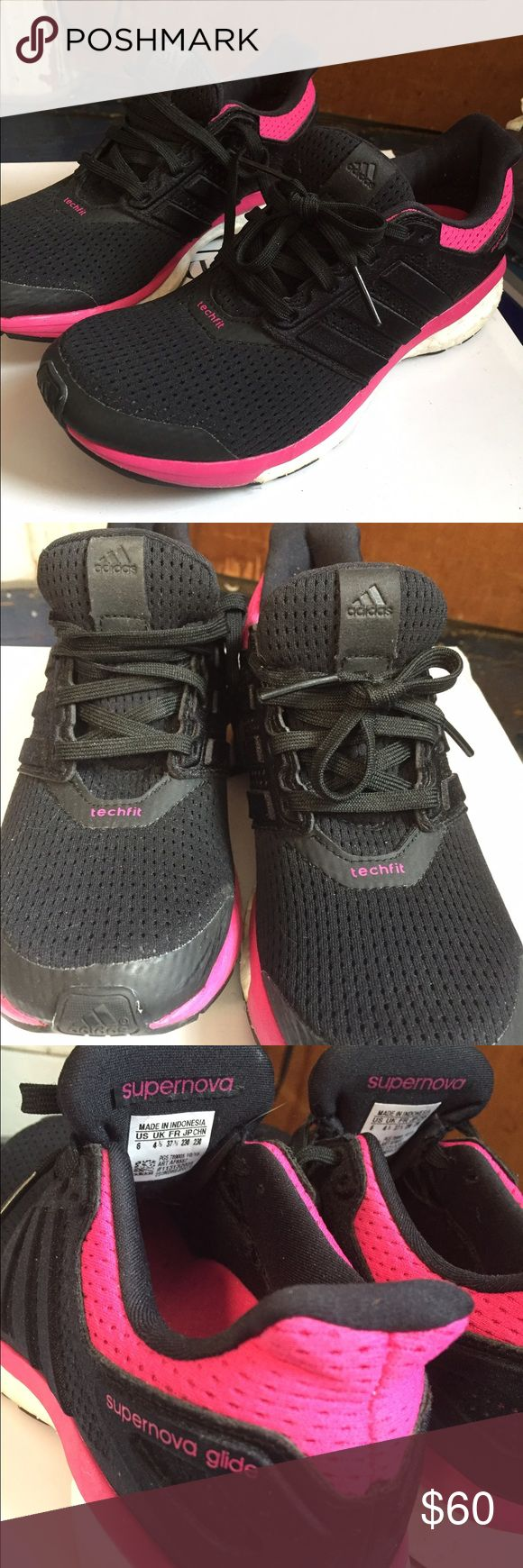 """BRAND NEW Adidas boost techfit running shoe VERY comfy and light! Black with hot pink accents. Mesh, so airy. Fits to foot. """"shoes blend a flexible, adaptive techfit® upper with the plush, energy-filled ride of boost™. The result is a lightweight, neutral running shoe that will invigorate runners of every level, at any distance.""""- from adidas site Adidas Shoes Sneakers"""