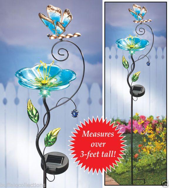Solar Powered Lighted Glass Flower Butterfly Bird Feeder