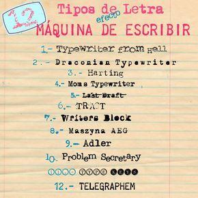 TIPOS DE LETRA (TIPOGRAFÍA) EFECTO MÁQUINA DE ESCRIBIR