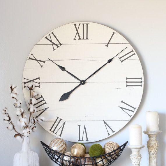 Large Wooden Clock Part - 50: Wood Clock. Cream White. Barn Wood Decor. Large Wall Clock.