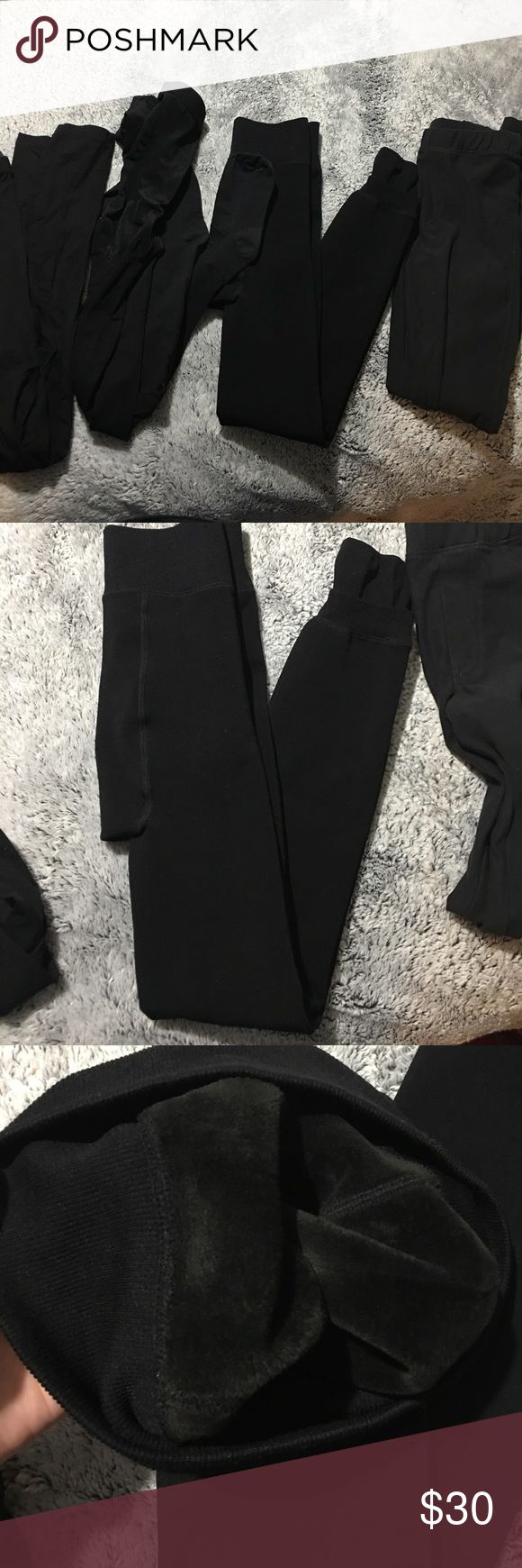 Fleece tights and leggings bundle 1 pair fleece lined footless tights. 1 pair of tights. 1 pair of H&M leggings. 1 pair of H&M leggings with faux pockets. All fit the same and all in good condition H&M Pants Leggings
