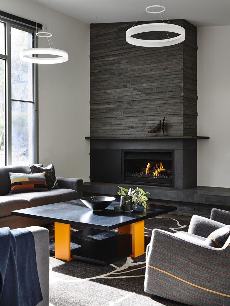 Stacked bluestone fire surround & mantel Camilla Molders Design