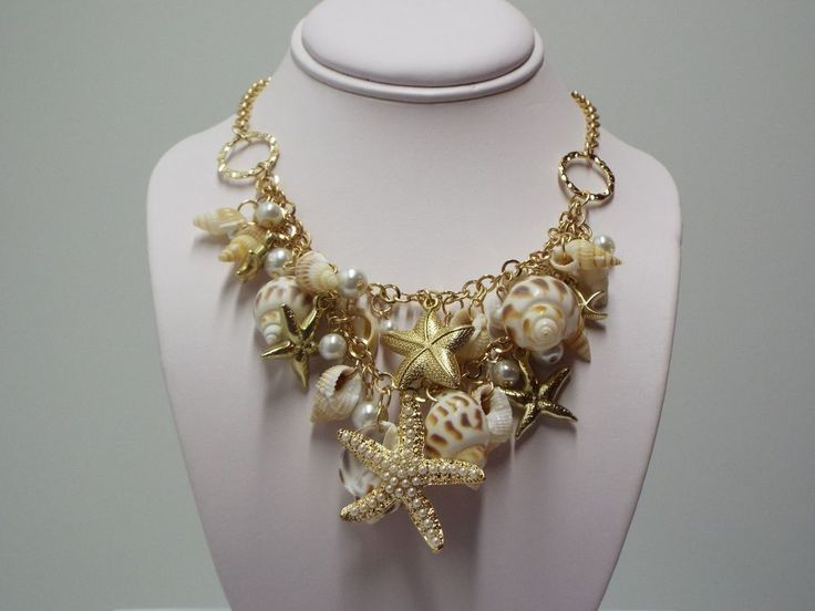 """Amazing Seashell / Starfish Necklace #FashionJewelry #SeaShellStarfishNecklace.  Find this necklace at Gigi'sGalleria store on Ebay. Look under """"Find Store"""" on EBay's home page and type in Gigi'sGalleria. (no space between words and each word is capitalized)."""