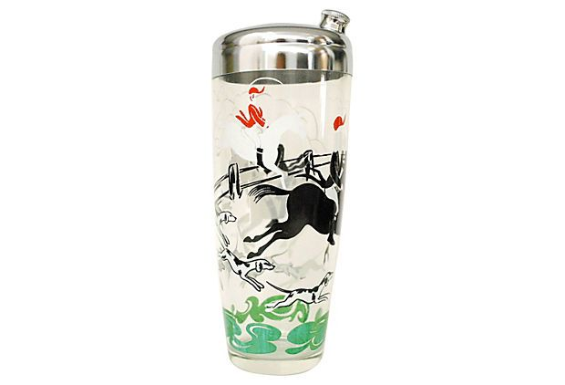 Fox Hunt Shaker & Glasses, 8 Pcs | Southern Accent | One Kings Lane