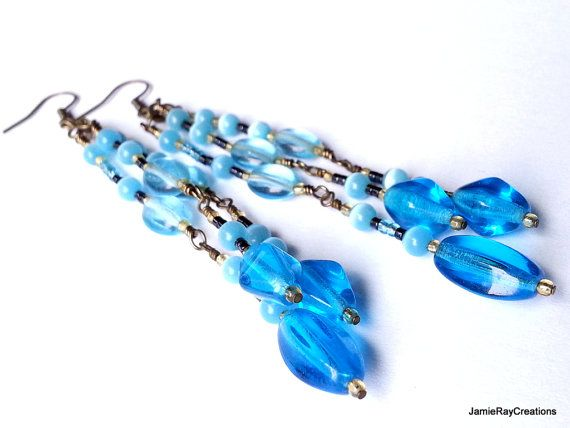 Hey, I found this really awesome Etsy listing at https://www.etsy.com/listing/184542822/caribbean-blue-dangle-earrings-long-blue